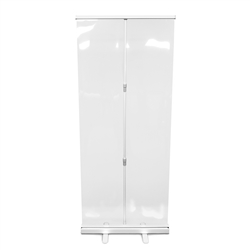 "Retractable Roll Up Banner Stand 33"" with Sneeze Guard"