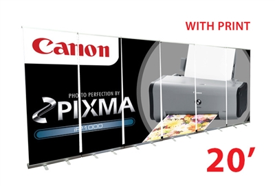 "20ft Wall  - 33"" Retractable Roll Up Banner Stands"