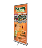 "Double Sided 33"" Retractable Roll Up Banner Stand with Vinyl Prints"