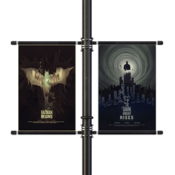 "Street Pole Banner Brackets 36"" Double Set with (2) 36"" x 42"" Vinyl Banners"