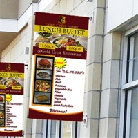 "Wall Mount Pole Banner Bracket 24"" with 24"" x 60"" Banner Print"
