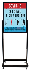"Social Distancing - Heavy Duty Poster Sign Holder Floor Stand 22"" x 28"" with Print"