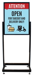 "Takeout and Delivery Only - Heavy Duty Poster Sign Holder Floor Stand 22"" x 28"" with Print"