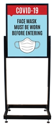 "Face Masks - Heavy Duty Poster Sign Holder Floor Stand 22"" x 28"" with Print"