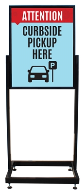 "Curbside Pickup Here - Heavy Duty Poster Sign Holder Floor Stand 22"" x 28"" with Print"