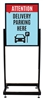 "Delivery Parking Here - Heavy Duty Poster Sign Holder Floor Stand 22"" x 28"" with Print"