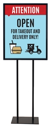 "Takeout and Delivery Only - Poster Sign Holder Floor Stand 22"" x 28"" with Print"