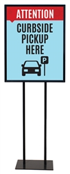 "Curbside Pickup Here - Poster Sign Holder Floor Stand 22"" x 28"" with Print"
