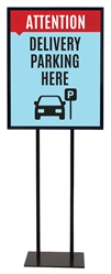 "Delivery Parking Here - Poster Sign Holder Floor Stand 22"" x 28"" with Print"