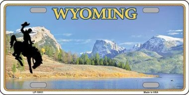 Wyoming Blank Background Metal Novelty License Plate