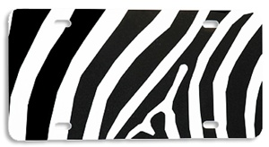 License Plate Blank Black White Zebra