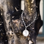 Sterling Silver Charm Bracelet with MS charm
