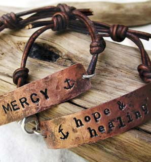 Copper Tag and Leather Bracelet