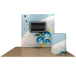 OneFabric 8 ft (3x3) Straight Pop Up Display w. Monitor Mount [Kit]