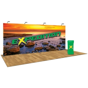 The Expedition 20 FT Trade Show Tension Fabric Display with Flooring [Kit]