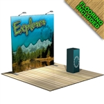 The Explorer 8 FT Trade Show Tension Fabric Display with Flooring [Kit]