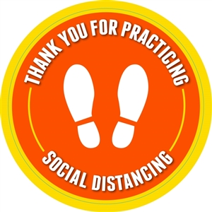 "Social Distancing Adhesive Floor Decals - 18"" x 18"""