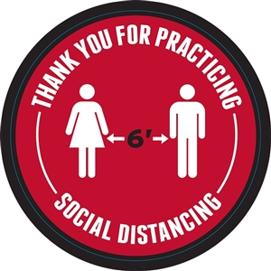 "Social Distancing 6ft Apart Adhesive Floor Decals - 18"" x 18"""