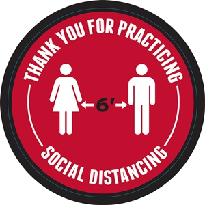 "Social Distancing 6ft Apart Adhesive Floor Decals - 24"" x 24"""