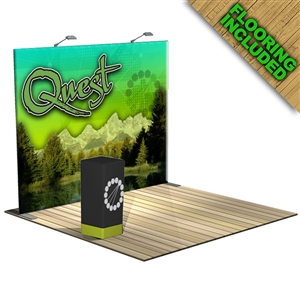 The Quest 10 FT Trade Show Tension Fabric Display with Flooring [Kit]