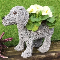 Standing Grey Dog Planter 28cm (x24)