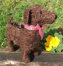Dark Brushwood Standing Dog Planter 33cm (x24)