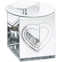 Silver Glitter Heart Wax Melter / Oil Burner (x24)