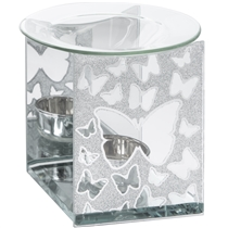 Silver Glitter Butterfly Wax Melter / Oil Burner (x24)