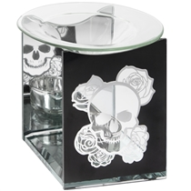Skull & Roses Glass Wax Melter / Oil Burner (x24)