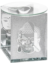Silver Glitter Buddha Glass Wax Melter / Oil Burner (x24)
