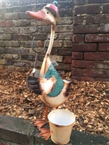 Standing Metal Duck With Fork & Planter (x4)
