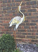 Hattie the White Metal Heron 97cm