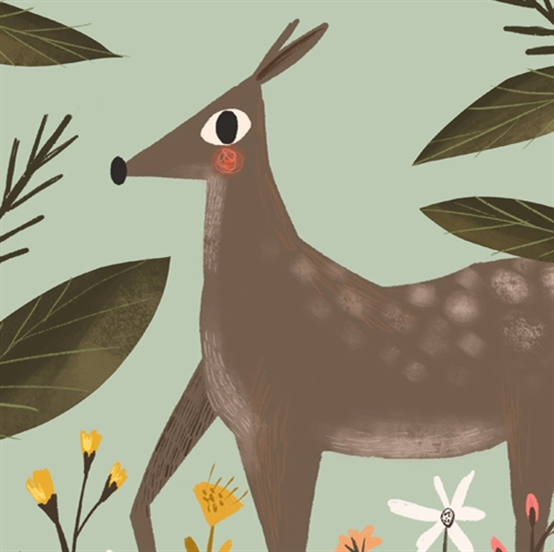 Magical Deer Pattern printed and personalized kid's fleece throw blanket.