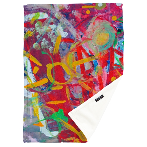 Kids artwork custom printed fleece throw blanket