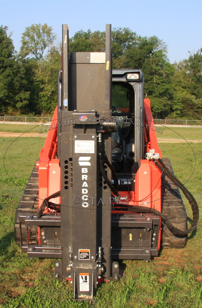 Hydraulic Post Drivers For Tractors : Bradco skid steer skidsteer hydraulic post driver pd