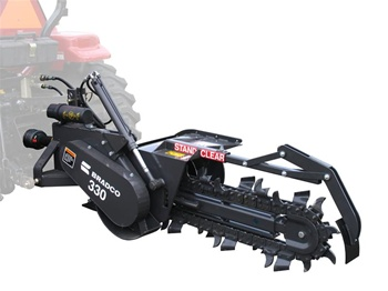 "Bradco model 330 3 point tractor trencher with 30"" shark tooth chain"
