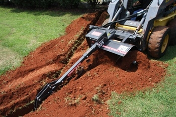 "Bradco 36"" Skid Steer, Skidsteer, Trencher Model 625, Cup Tooth Every Station, Universal Skid Steer Quick Attach"