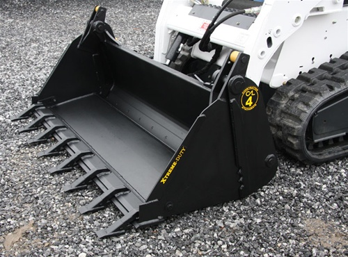 Construction Attachments Multi Purpose X Treme Duty 4 In 1 Bucket Low Profle Extended Bottom Skid Steer Skidsteer Bucket Cal 1mp