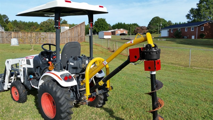 Small Tractor Implements And Attachments : Compact tractor post hole digger point hitch tall narrow