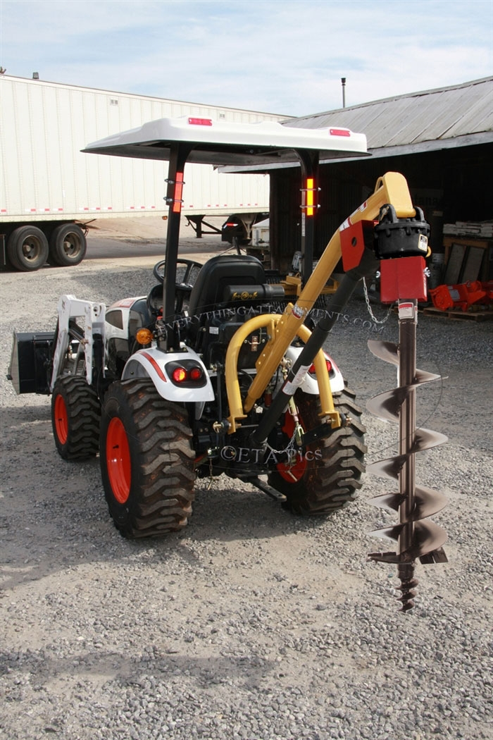 Tractor Bucket Attachments : Compact tractor post hole digger point hitch tall narrow