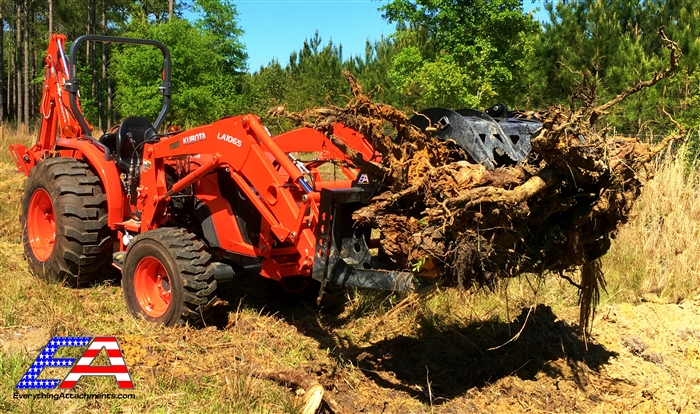 Mega Compact Utility Tractor Wicked Root Grapple from
