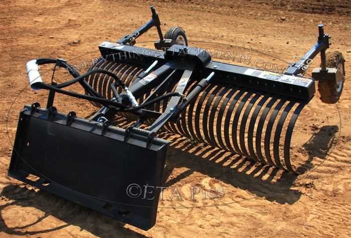 Larger Photo Email A Friend - 92 Inch FFC Grader Rake With Hydraulic Angle And Gauge Wheels