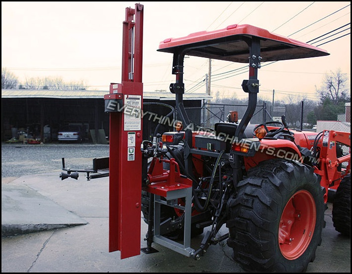 Shaver HD-8 Tractor Post Driver, Manual Tilt, 3 point Hitch Category 1