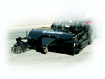 "Sweepster Skid Steer, Skidsteer, Dump Bucket Broom, Pick up sweeper, 84"", Poly or Poly/Wire Brush"