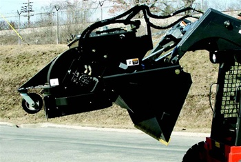 "Sweepster Skid Steer, Skidsteer, High Dump Bucket Broom with Vacuum Dust Abatement, 84"", Poly or Poly/Wire Brush"