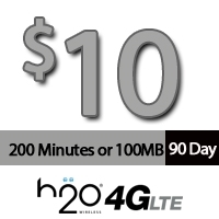 $10 H2O Wireless: 200 Minutes for 90Days