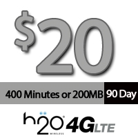 $20 H2O Wireless: 400 Minutes for 90Days