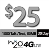 $25 H2O Wireless: 1000 Mins, 1000 Text, 250 Pic. Messages, 80MB Data + $5 Int'l Credit