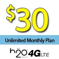 $30 H2O Wireless: UNLIMITED Talk,Text and Data, 3GB of Lte Monthly Plan