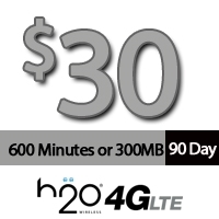 $30 H2O Wireless: 600 Minutes for 90Days